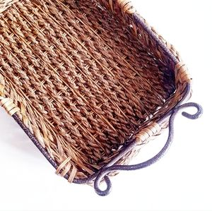 WICKER BASKET With Wrought Iron Handle